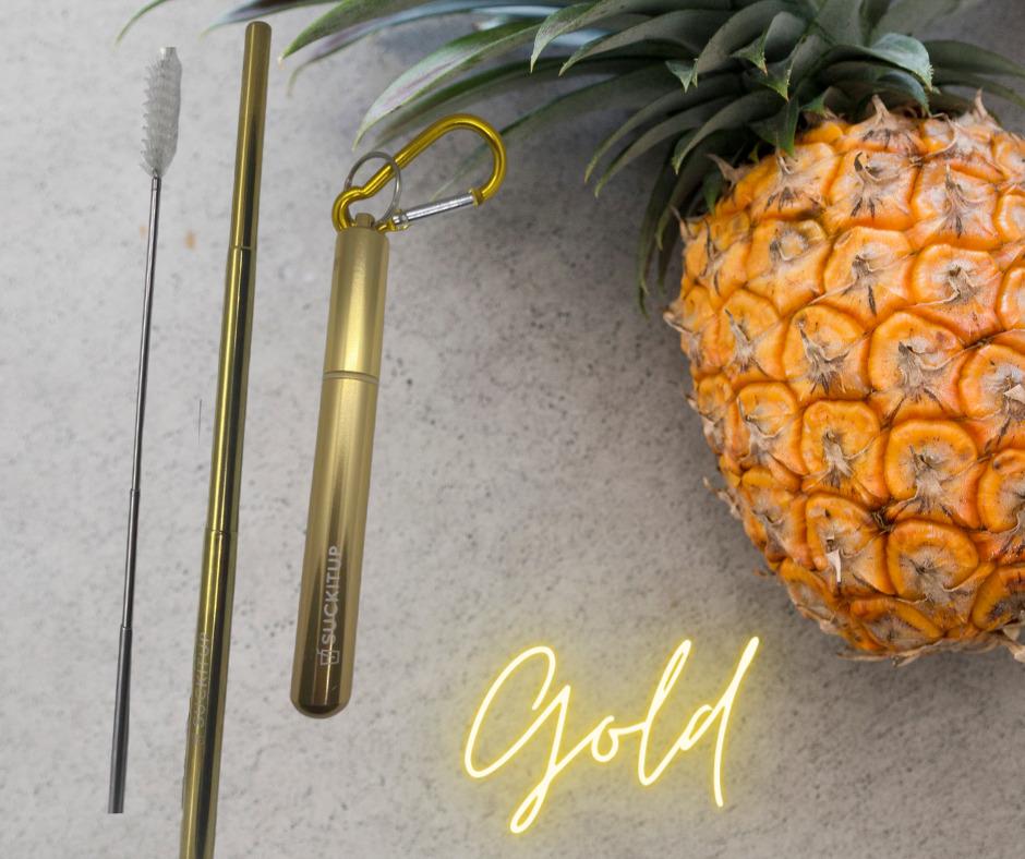 SUCKITUPstraws Telescopic Straw Case-Gold | Trada Marketplace