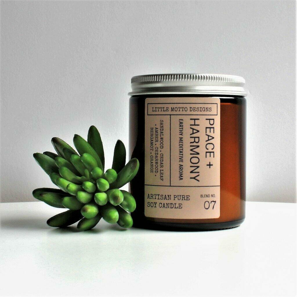 Amber Brights Boxed Soy Candle Jar - Peace & Harmony | Trada Marketplace