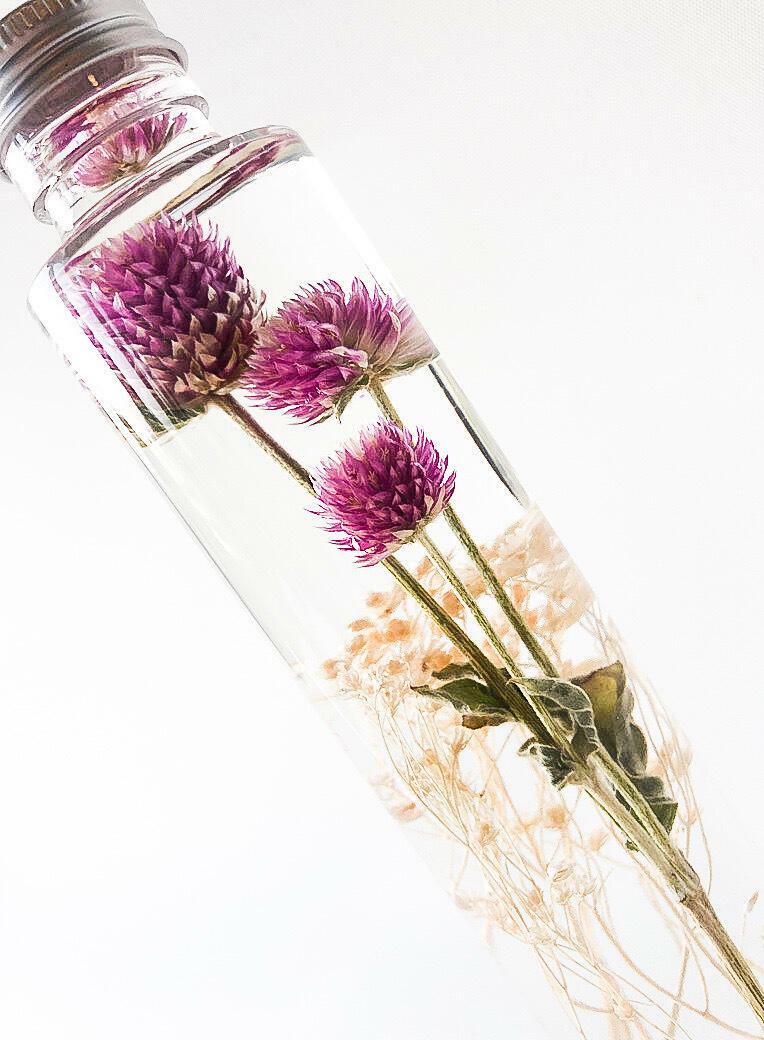 The Amaranth Globe X - Preserved Flowers, Home Interior Decor, Table Centerpiece, Giftware , Botanical Bottle   Trada Marketplace