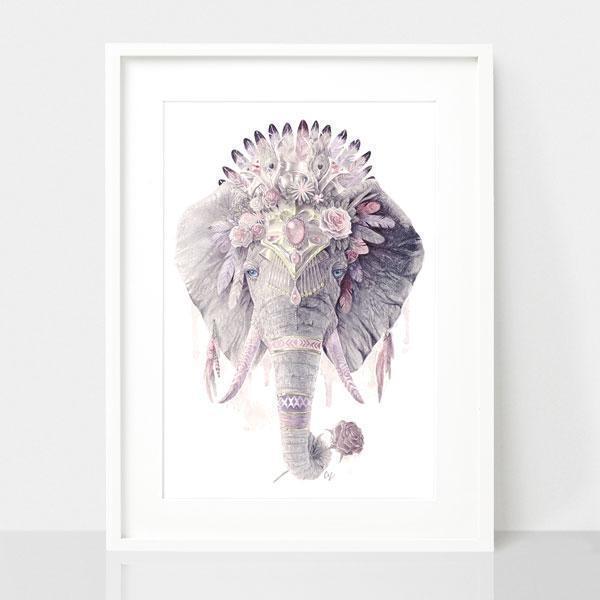 Bohemian Elephant - Dusty Pink Print | Trada Marketplace